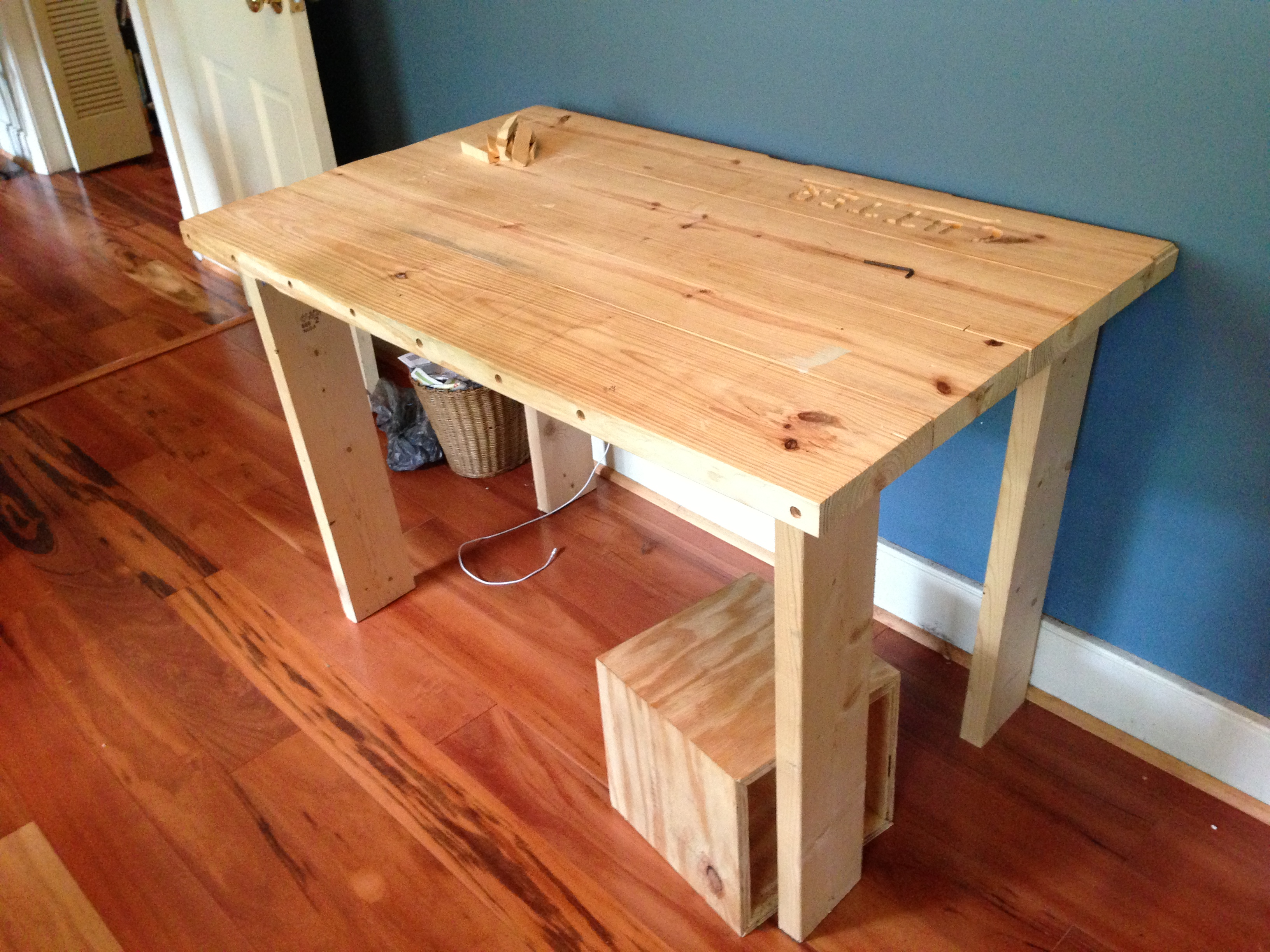 My First Prototype Wooden Desk Learned How To Glue Boards Together And Drill Dowel Holes Without As It Wobbled